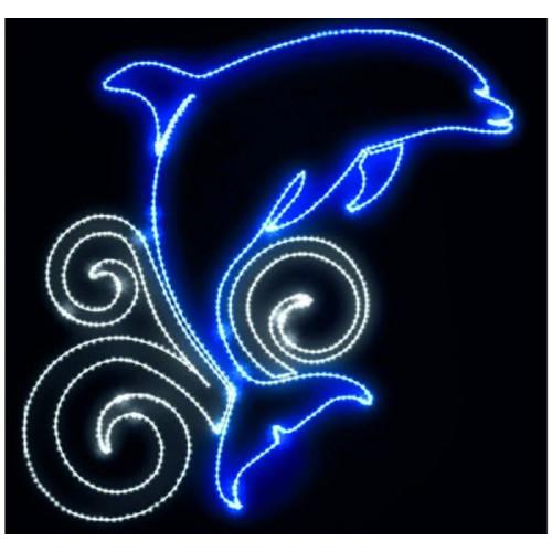 """Фигура из дюралайта """"Дельфин на волне"""" 105х105 см"""