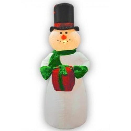 Надувная фигура Снеговик в цилиндре с подарком 1,2 м арт. 31 185