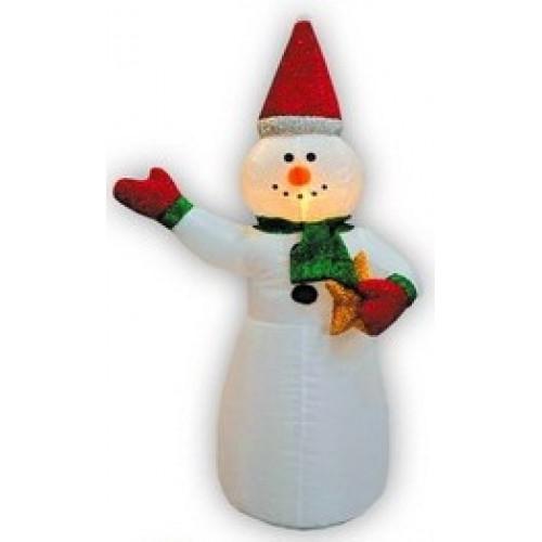 Надувная фигура Снеговик в колпачке с подарком 1,2 м арт. 31 187