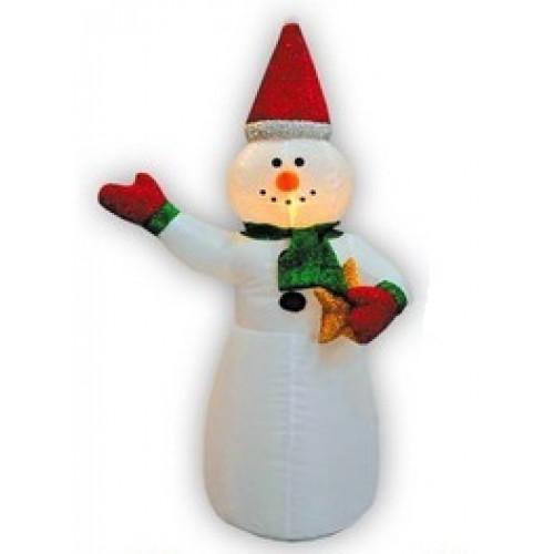 Надувная фигура Снеговик в колпачке с подарком 2,4 м арт. 31 188