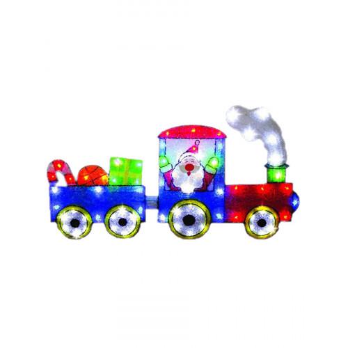 """Световое панно """"Санта на поезде"""" 79х44см"""