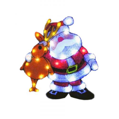 """Световое панно """"Дед Мороз с оленем"""" 61x56см"""