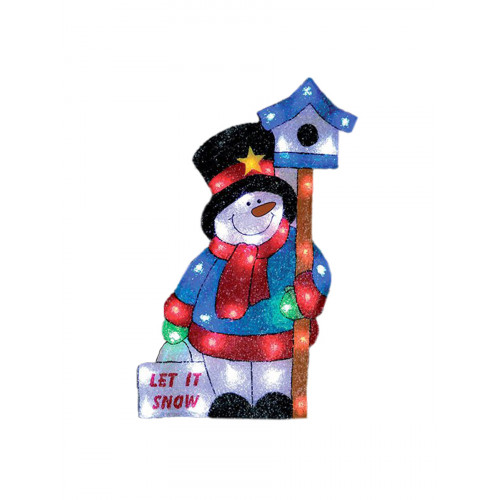 Световое панно «Снеговик со скворечником»  61х56см