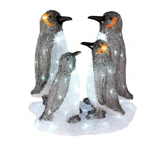 Светодиодная LED фигура Семья пингвинов 49 см