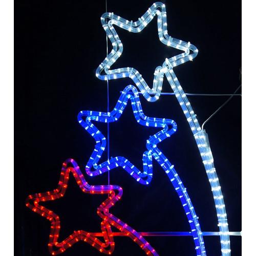 Светодиодная консоль Звезды триколор 100х50 см